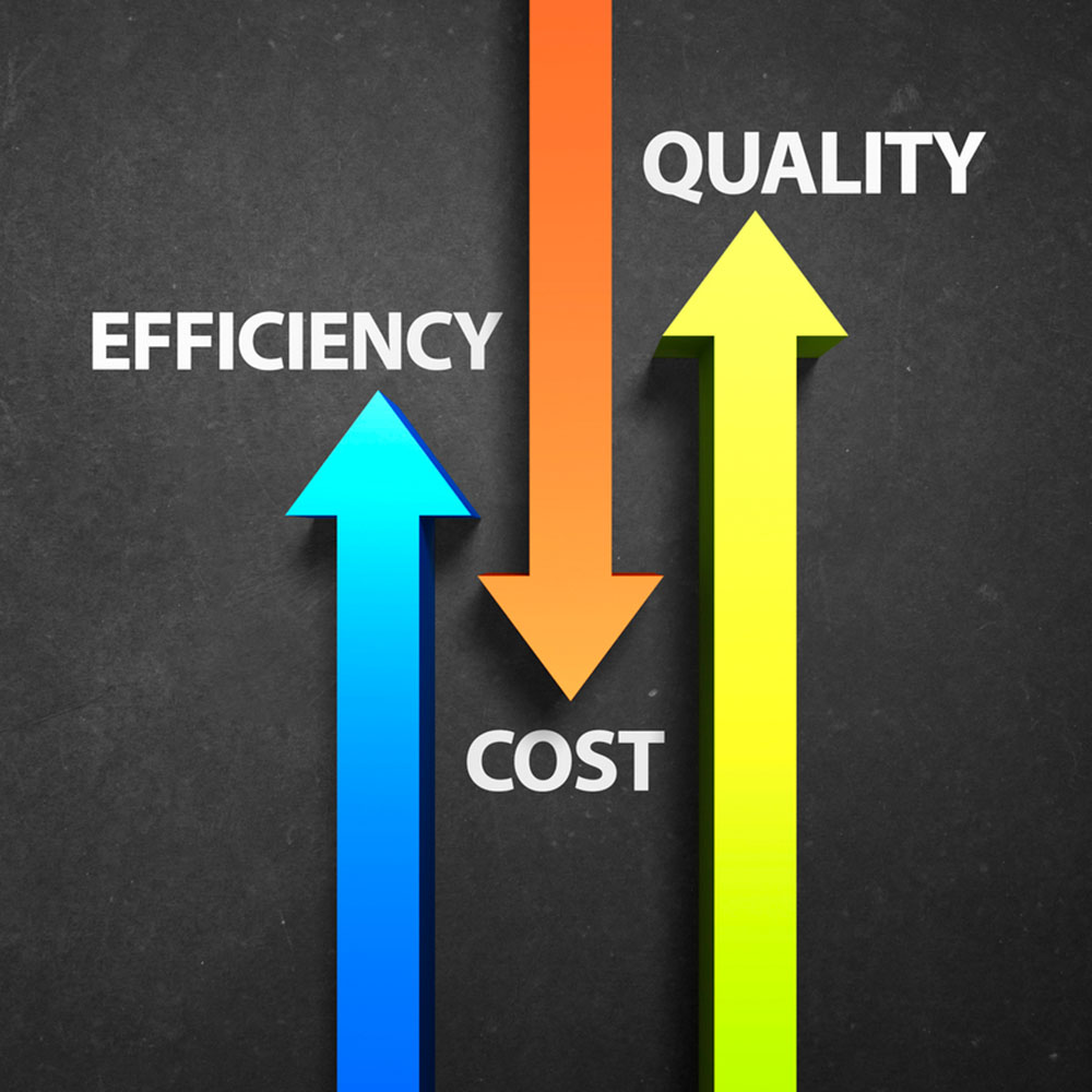 Illustration Showing Efficiency, Cost and Quality