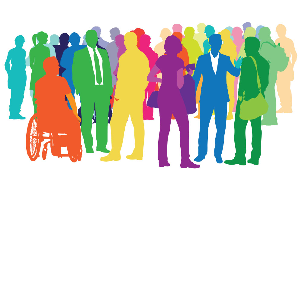 Illustration of Different Colored People Standing in a Group