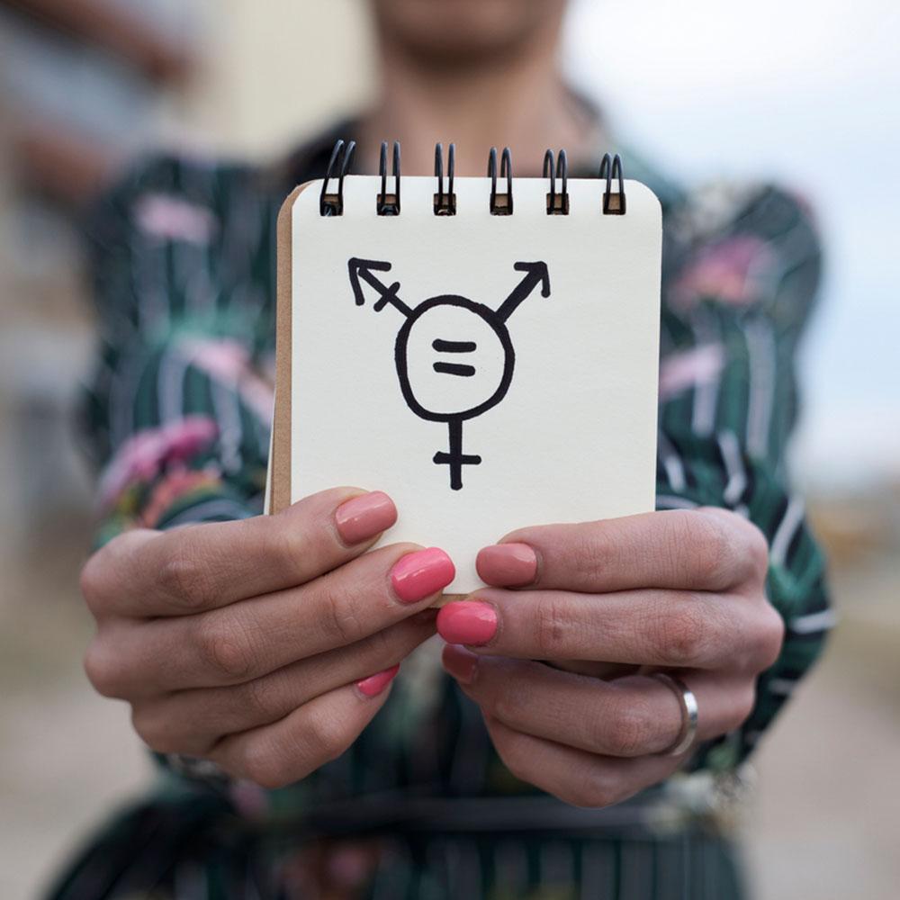 Transgender Symbol Drawn on Notepad
