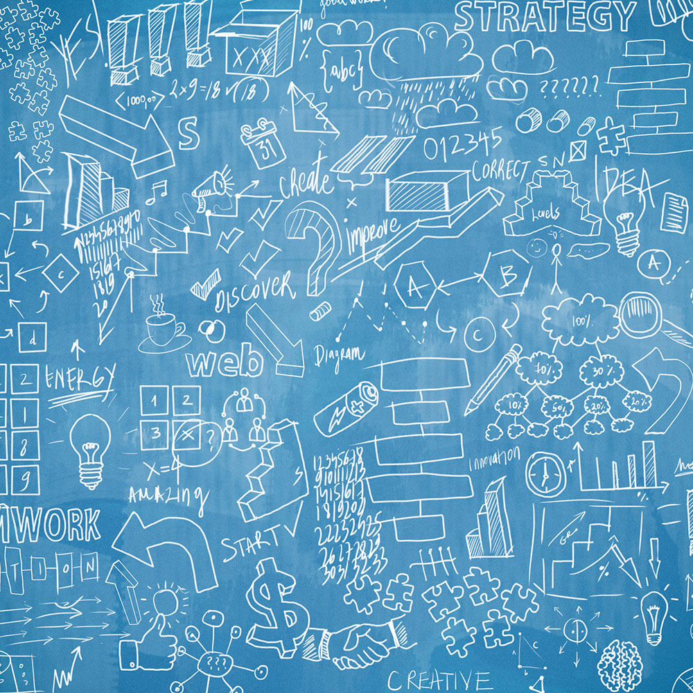 White Drawing on Blue Chalkboard