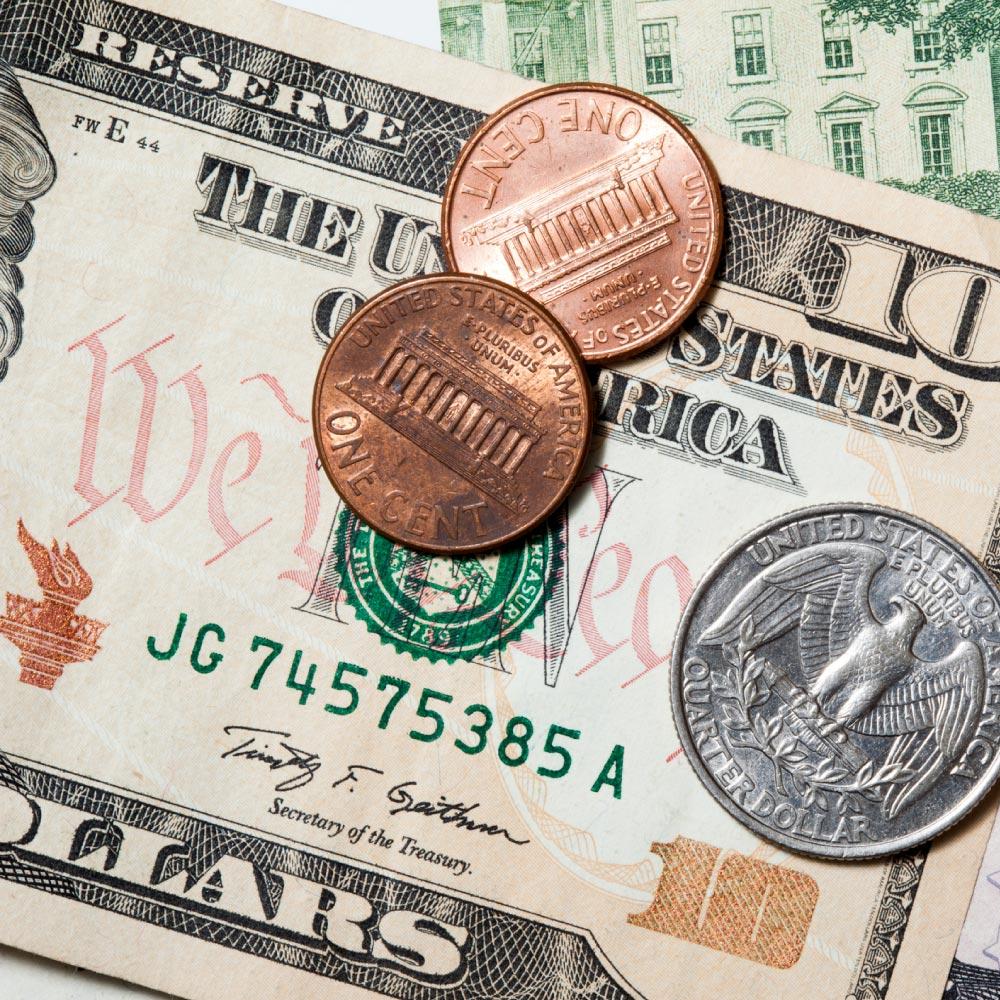 Ten Dollar Bill and Coins